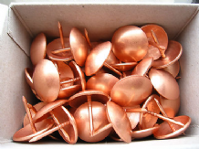 50 Large copper upholstery nails - 19mm diameter head  Metal domes craft studs